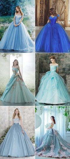 Cinderella light blue ball gown elegant pretty prom dress