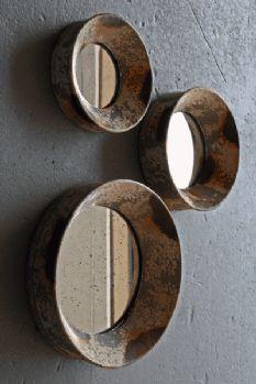 Set Of 3 Vintaged Round Mirrors Distressed Mirror Circular Sofa Styling