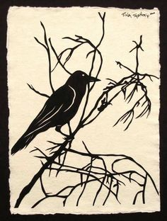 For the Love of Crows, No. 1 - Hand-Cut Silhouette Papercut. $70.00, via Etsy.