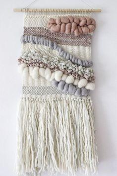 Blush, grey, white woven wall hanging   Woven wall art   Wall weaving  Tapestry…