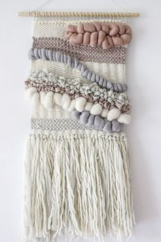 Blush, grey, white woven wall hanging | Woven wall art | Wall weaving| Tapestry…