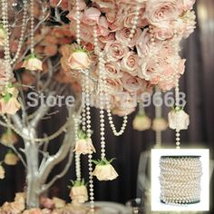 NEW ARRIVAL IN STOCK!25Meters 6mm Pearl Beaded Garland Strands for Wedding Decoration Table Centerpieces Chandelier on Aliexpress.com   Alibaba Group