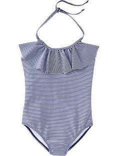 striped flutter top one piece bathing suit for girls