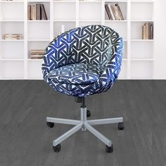 IKEA SKRUVSTA Chair Slip Cover, Coastal Navy Blue Rope Print | affordable, designer, custom, handmade, trendy, fashionable, locally made, high quality Ikea Office Chair, Beautiful Cover, Slipcovers For Chairs, Seat Cushions, Nautical, Coastal, Navy Blue, Handmade, Design