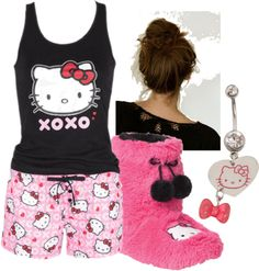 """""""Kira's PJ's - Do It Like a Dude"""" by emo-rainbow-zebra-chick ❤ liked on Polyvore Rainbow Zebra, Band Merch, Shopping Websites, Pjs, Hello Kitty, Boutique, Crop Tops, Clothes For Women, My Style"""