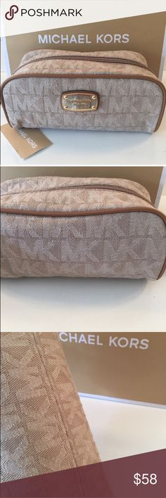 🆕MICHAEL KORS NEW ROOMY COSMETIC BAG 💯AUTHENTIC MICHAEL KORS NEW NEVER USED WITH TAGS ROOMY COSMETIC BAG 100% AUTHENTIC. STUNNING AND STYLISH TOTALLY ON TREND! WHAT A LOVELY BAG. THIS DELIGHTFUL BAG HAS A ZIP TOP CLOSURE. IT ALSO A WONDERFUL INTERIOR WALL POCKET. COULD ALSO BE A EVENING CLUTCH BAG! THE BAG MEASURES 7.5 INCHES WIDE BY 3.5 INCHES TALL. Michael Kors Bags Cosmetic Bags & Cases