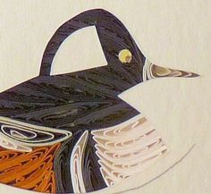 Custom Made Ducks - Quilled Hooded Merganser Miniature Wall Art Framed