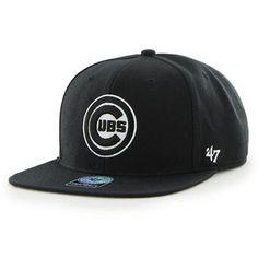 Men's Chicago Cubs '47 Black Circle C Sure Shot Captain Snapback Adjustable Hat