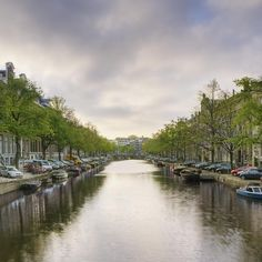 ✯ Boats in a Tree Lined Canal - Amsterdam