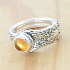 Spoon Ring with Citrine Upcycled Sterling Silver by metalsmitten, $75.00