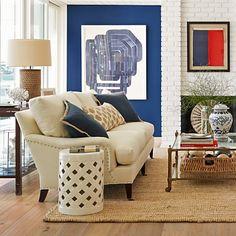 Art-filled room featuring Pierce Sofa #williamssonoma (=)