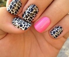 Giraffe Nails-- maybe use stickers for recruitment so we all match? Except make the accent nail green, or green nails with a giraffe accent?