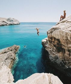 Jumping off cliffs to turquoise water