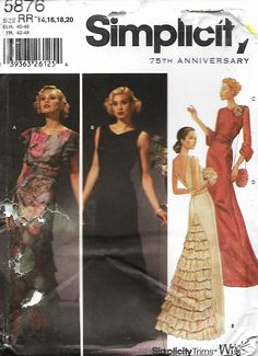 Simplicity 5876 76th Anniversary Sewing Pattern, Misses Elegant Evening Dress With Back Ruffle and Sleeve Variations, Size 14-20, UNCUT by DawnsDesignBoutique on Etsy
