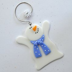 087 Snowman glass snowman Christmas от nivenglassoriginals