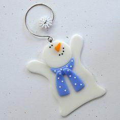 088 Snowman glass snowman Christmas by nivenglassoriginals