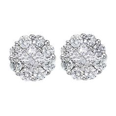 Allurez Diamond Clusters Flower Stud Earrings in 14k White Gold (1.00... found on Polyvore