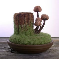 Tree Stump Mushrooms Wool Sculpture Pin Cushion by FoxtailCreekStudio on Etsy for $29.00
