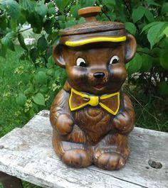 Vintage Bear Cookie Jar made in USA by Treasure Craft