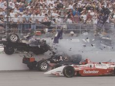 One of the most devastating crashes in Indianapolis 500 history. With less than 10 seconds elapsed in the race, Stan Fox's car is cut in half as it is hit by Eddie Cheever's car during the 1995 Indianapolis 500.  Fox would survive this crash, but would be killed in an auto accident in New Zealand in 2000.
