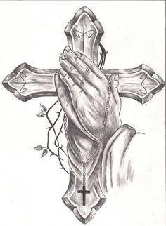Prayer Hands Tattoo, Praying Hands Tattoo Design, Jesus Tattoo, Prayer Hands Drawing, Pray Tattoo, Cross Tattoo For Men, Cross Tattoo Designs, Tattoo Design Drawings, Tatoo Art
