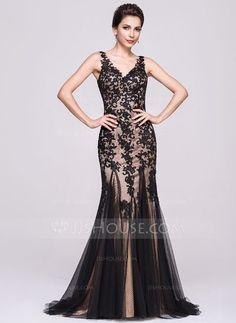 [£ 145.00] Trumpet/Mermaid V-neck Sweep Train Tulle Evening Dress With Appliques Lace (017066940)