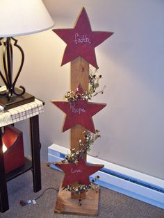 3 Tier Country Stars with Berries and Lights.