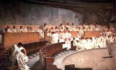 This picture is set to show the Senate during the time period of the Roman Republic. The Senate was made up of Patricians, who really made up the decision-making body of the republic.