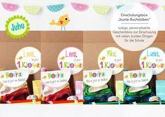 Stundenplan - Einschulungsbox bunte Buchstaben nach Wunsch - ein Designerstück von naehfein-berlin bei DaWanda