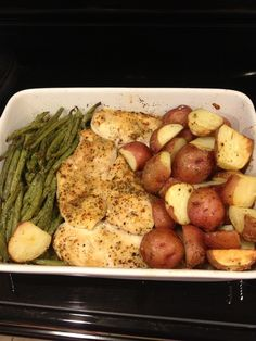 Really yummy an easy chicken dinner! Season the chicken and asparagus and potatos as needed a lil dash of olive oil over the potatos and the asparagus , Simmer minced Garlic in a sauce pan with a full stick of butter and a Half tea spoon of lemon juice!