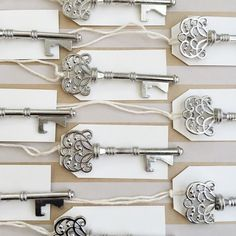 100 Silver Vintage Key Bottle Openers with tags - wedding favors