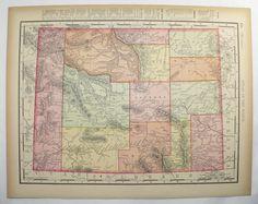 Utah Map Vintage Decor Office Art Gift For Coworker Antique - 1896 map of us
