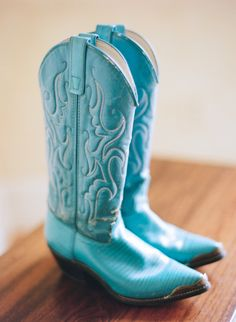 Tiffany blue cowboy boots. That is making a statement...