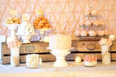 Like the lace doilies on the cylinder vases, for a vintage party. --- Absolutely stunning shabby chic baby girl's birthday party by @Taryn H H Whiteaker of Design Dining and Diapers