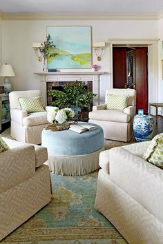 Beautiful New Trad Living Room With Lovely Colors And Four Club Chairs Fireplace Mantel Newtrad