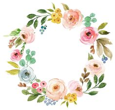 Discover an amazing range of Floral paper napkins on Zazzle. Wreath Watercolor, Watercolor Design, Watercolor Flowers, Watercolor Paintings, Image Clipart, Frame Wreath, Flower Garlands, Floral Border, Flower Frame