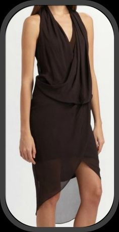 75f92c5f41d3e6 NWT Helmut Lang Wisp Cross Front Italian Chiffon Dress Color Scar Size 8 425