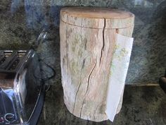 """This is my dream paper towel holder I would have in my dream kitchen in my """"Dream Home"""" .....clever paper towel holder, recycled, rustic decor, country kitchen decor"""