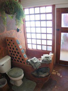 Hybrid Earthship shower by Earthship Kirsten, via Flickr