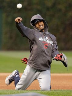 Cleveland Indians' shortstop Francisco Lindor warms up before Game 3 of the World Series against the Chicago Cubs on Friday, Oct. 28, 2016.