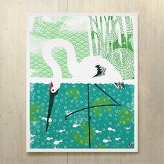 Whooping Crane Print 16x20 from Jeff Barfoot and Shay Ometz co-founders of bee things, $35, now featured on Fab.