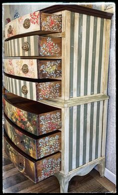 SOLD~ Hand painted vintage highboy bicycle dresser / antique chest on chest - Creative painted furniture Whimsical Painted Furniture, Hand Painted Furniture, Funky Furniture, Repurposed Furniture, Furniture Projects, Rustic Furniture, Furniture Makeover, Vintage Furniture, Furniture Dolly