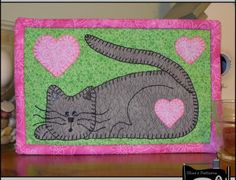 PDF Pattern for Kitten Mug Rug, Cat Mug Rug Pattern, Cat Mini Quilt Pattern - Tutorial, DIY