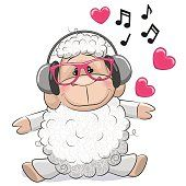 Cute cartoon Girl with headphones and hearts Cartoon Cartoon, Sheep Cartoon, Cute Cartoon Girl, Cute Images, Cute Pictures, Sheep Drawing, Butterfly Coloring Page, Girl With Headphones, Cute Sheep