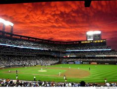 Mammatus clouds over Citi field of the NY Mets