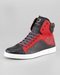 Stephen Two-Tone Hi-Top Sneaker, Red/Burgundy by Salvatore Ferragamo at Neiman Marcus. New Shoes, Men's Shoes, Shoe Boots, Classic Sneakers, High Top Sneakers, Salvatore Ferragamo, Neiman Marcus, Leather Cap, Sneaker Boots