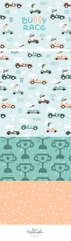 Bunny Race - Surface Pattern Design mini collection. Cute, in little retro style collection for boys, but not only ;) Kept in vector style with cute bunny motive.
