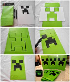 Running away? I'll help you pack.: Minecraft Birthday Party ... Creeper Treat Bags