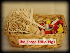 The Three Little Pigs Story Basket  I like the idea of creating story baskets or bags to to assist children with retell.    This concept could also be applied to giving students inspiration for writing by assembling a group of items and having students create a story from them.