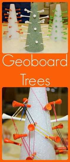 Fine Motor--pincer--finger strengthening: DIY Foam Geoboard Trees from www.fun-a-day.com -- Fun, seasonal way for children to explore math and fine motor skills. A twist on the flat geoboards they're used to! Pinned by The Sensory Spectrum pinterest.com/sensoryspectrum
